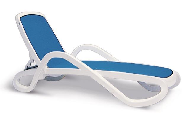 Best Stapelliege Alfa weiss/blau Gartenliege Sonnenliege
