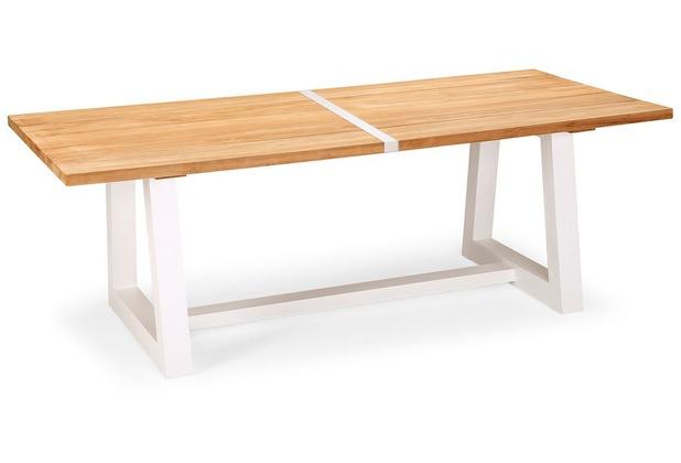 Best Tisch Campione 220x100cm weiss/Teakholz Gartentisch