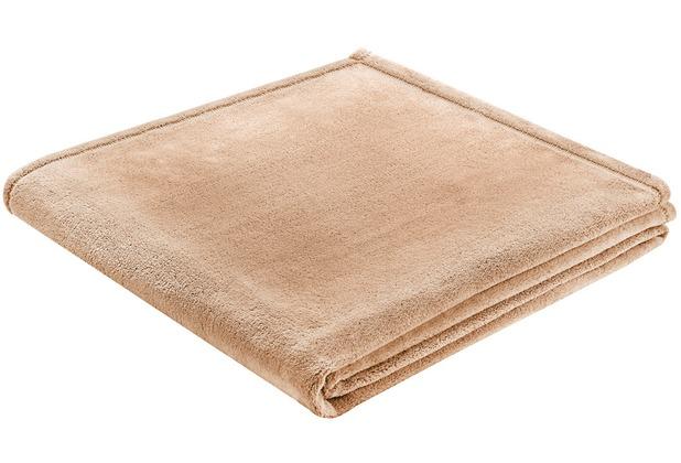 Biederlack Plaid / Decke Soft & Cover beige Umschlagsaum 150 x 200 cm