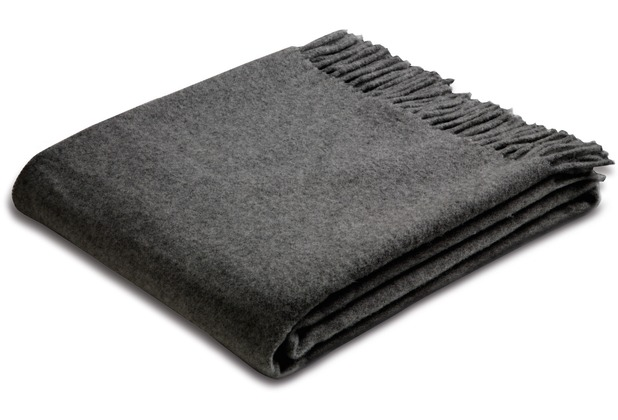 Biederlack Plaid Anthracite Wool 130 x 170 cm