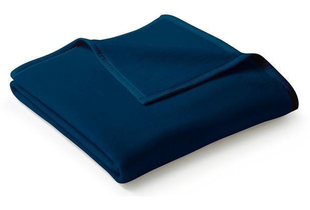 Biederlack Plaid / Decke Uno Cotton dunkelblau Veloursband-Einfassung 150 x 200 cm
