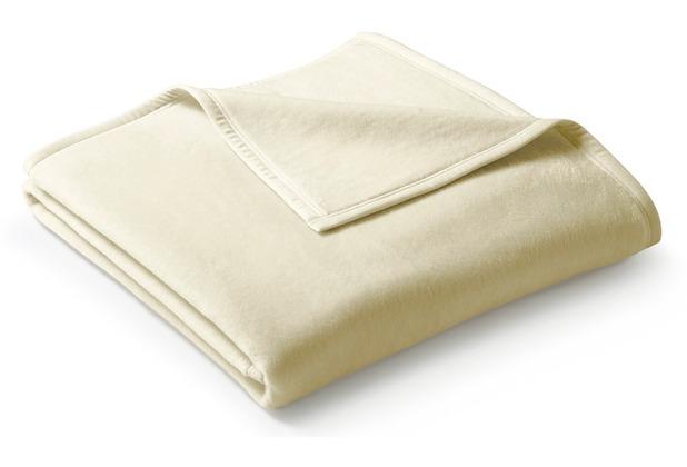 Biederlack Plaid / Decke Uno Cotton natur Veloursband-Einfassung 100 x 150 cm