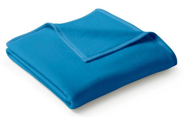 Biederlack Plaid / Decke Uno Cotton poseidon Veloursband-Einfassung 150 x 200 cm