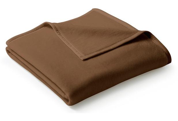 Biederlack Plaid / Decke Uno Cotton schoko Veloursband-Einfassung 150 x 200 cm