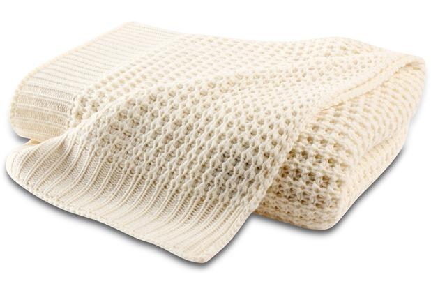 Biederlack Plaid / Decke Wohndecke Knit ecru 130 x 170 cm