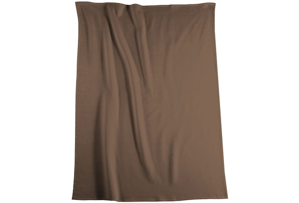 Biederlack Plaid / Decke Pure Cotton schoko Samtband-Einfassung 150 x 200 cm
