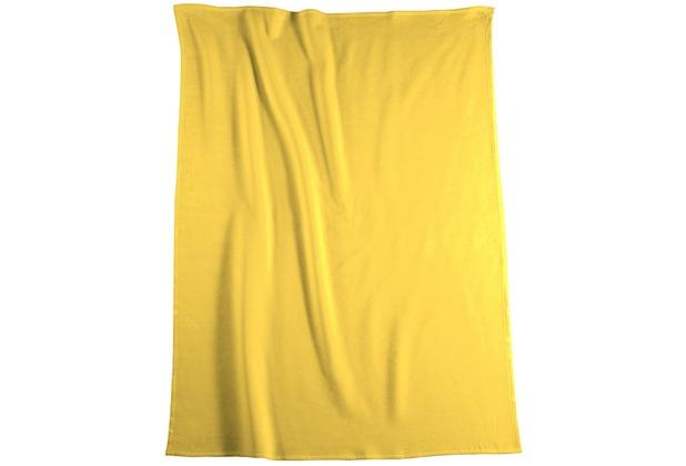 Biederlack Plaid / Decke Pure Cotton gelb Samtband-Einfassung 150 x 200 cm
