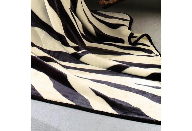 Biederlack Wohndecke   De Luxe schwarz 150x200 cm