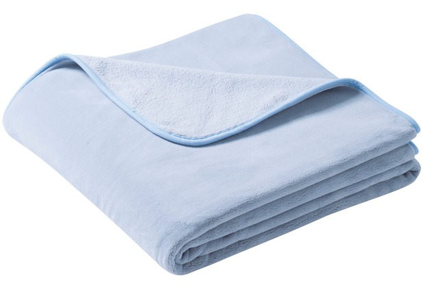 Biederlack Plaid / Decke pure soft graublau schmale Einfassung 150 x 200 cm