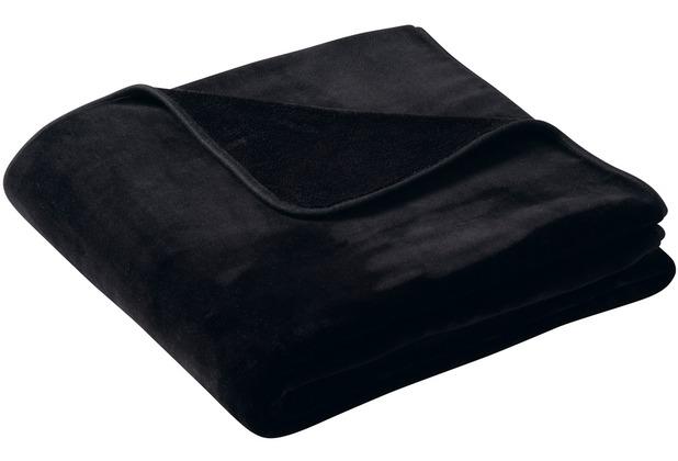 Biederlack Plaid / Decke pure soft schwarz schmale Einfassung 150 x 200 cm
