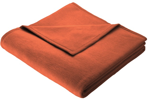 Biederlack Plaid/Decke Uno Soft terracotta Veloursband-Einfassung 150 x 200 cm