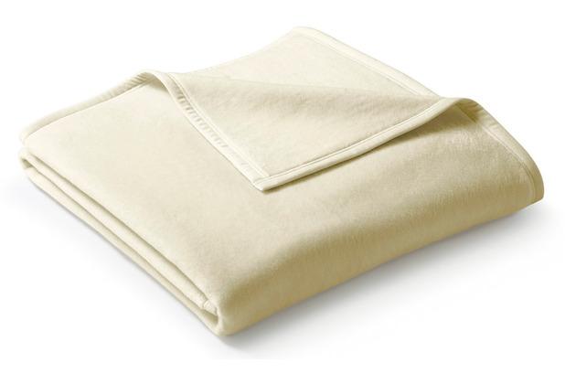Biederlack Wohndecke Uno Cotton Velourband-Einfassung natur 150 x 220 cm