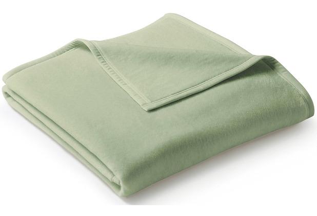 Biederlack Wohndecke Uno Cotton Velourband-Einfassung salbei 150 x 220 cm