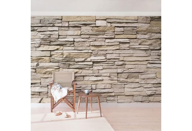 Bilderwelten Vliestapete - Asian Stonewall Steinmauer aus großen hellen Steinen - Fototapete Breit 190x288cm