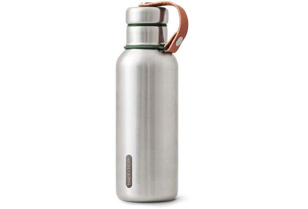 black+blum Isolierflasche 500ml Edelstahl Olive Grün Maße: 7,3 x 7,3 x 23,3 cm Isolierte Wasserflasche