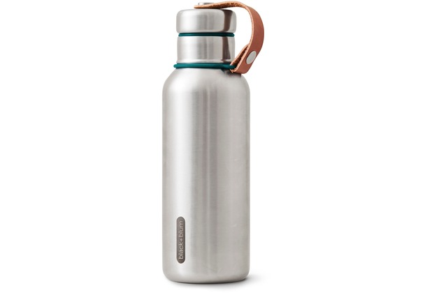 black+blum Isolierflasche 500ml Edelstahl Ozean Blau Maße: 7,3 x 7,3 x 23,3 cm Isolierte Wasserflasche