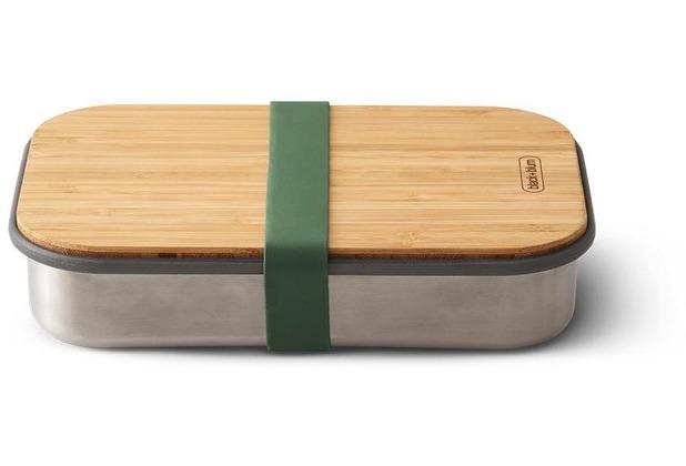 black+blum Sandwich-Box Edelstahl/Bambusholz Olive Grün Brotdose Maße ca. 22,3 x 15 x 5,2 cm