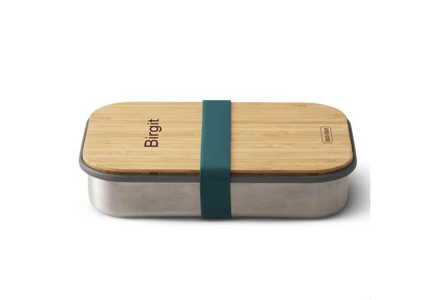 black+blum Sandwich-Box MIT GRAVUR (z.B. Namen) Edelstahl/Bambusholz Ozean Blau Brotdose