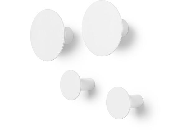 blomus Ponto Set 4 Wandhaken, weißlily white ø 8,5 cm, ø 5cm