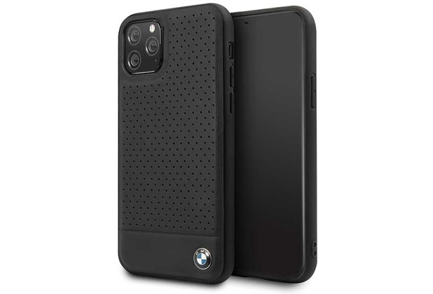 BMW Perforated - Apple iPhone 11 Pro Max - Leder TPU Cover Case Schutzhülle Hülle - Schwarz