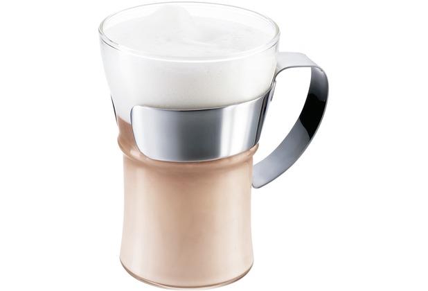 Bodum ASSAM 2 Stück Kaffeeglas mit Metallgriff 0,35 l glänzend