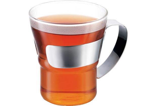 Bodum ASSAM 2 Stück Teeglas mit Metallgriff 0,3 l glänzend