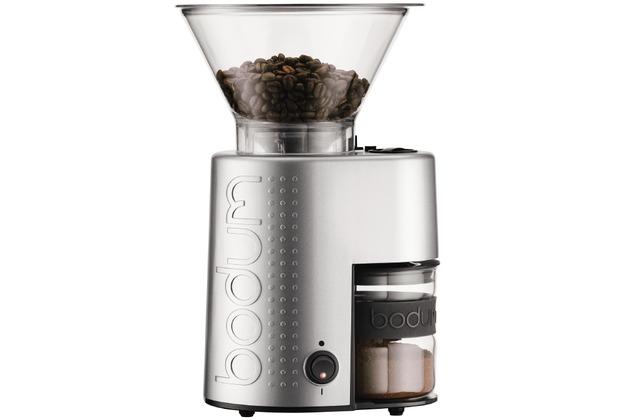 bodum bistro elektrische kaffeem hle kegelmahlwerk silber. Black Bedroom Furniture Sets. Home Design Ideas