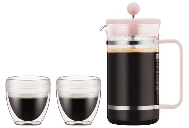 Bodum BISTRO SET Kaffeebereiter, 8 Tassen, 1.0 l mit 2 doppelwandigen 0.25 l kunststoff pink