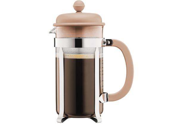 Bodum CAFFETTIERA Kaffeebereiter mit Kunstsoffdeckel, 8 Tassen, 1.0 l, Edelstahl, beige