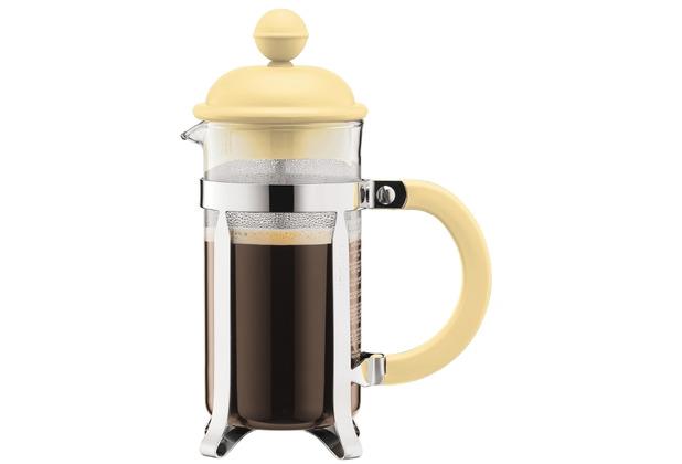 Bodum CAFFETTIERA Kaffeebereiter mit Kunststoffdeckel, 3 Tassen, 0.35 l, Edelstahl gelb