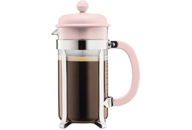 Bodum CAFFETTIERA Kaffeebereiter mit Kunststoffdeckel, 8 Tassen, 1.0 l, Edelstahl pink