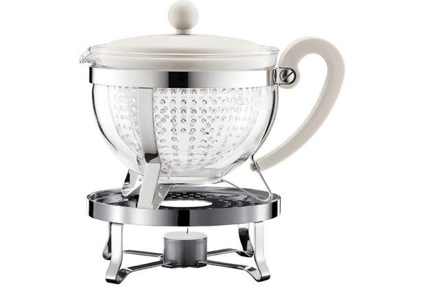 Bodum CHAMBORD SET Teekanne mit Stövchen, 1.0 l, mit cremefarbenem Plastikdeckel und Griff, Filter transparent