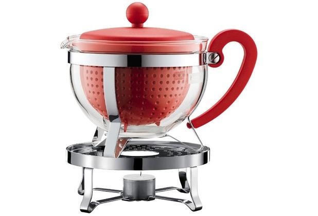 Bodum CHAMBORD SET Teekanne mit Stövchen, 1.0 l, mit rotem Plastikdeckel, Griff und Filter