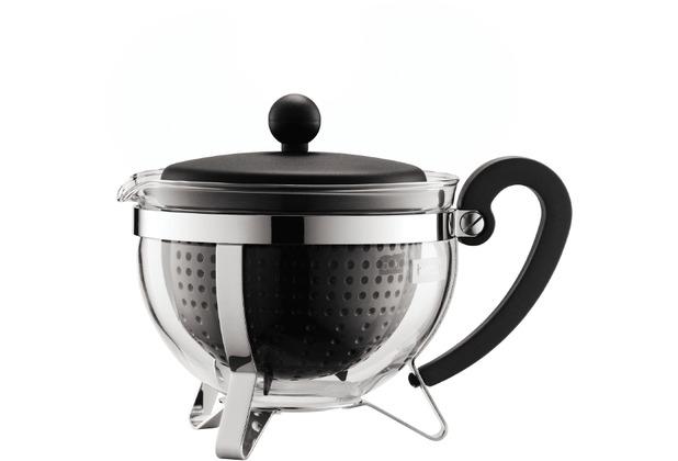 Bodum CHAMBORD Teekanne, 1.0 l, mit schwarzem Plastikdeckel, Griff und Filter