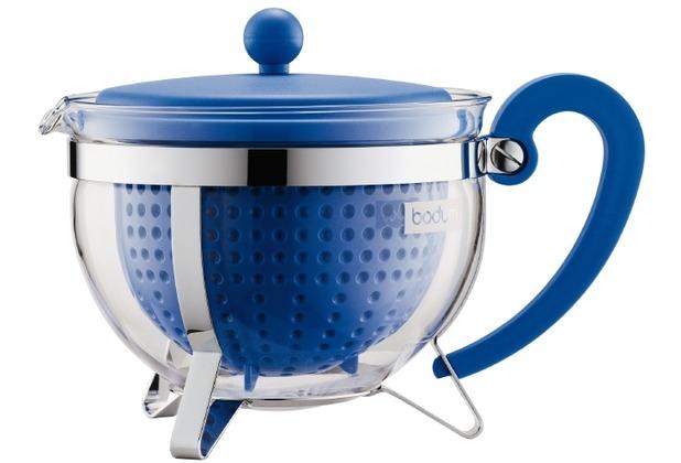 Bodum CHAMBORD Teekanne, 1.3 l, mit farbigem Plastikdeckel, Griff und Filter blau