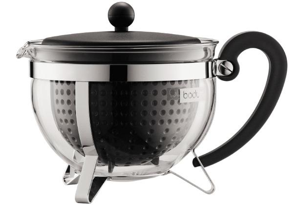Bodum CHAMBORD Teekanne, 1.3 l, mit schwarzem Plastikdeckel, Griff und Filter