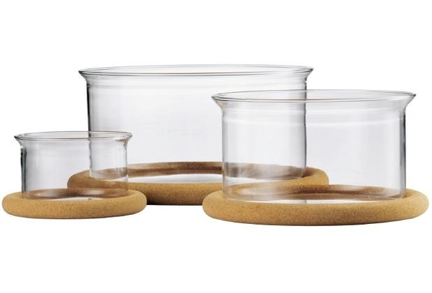 Bodum HOT POT SET Auflaufformen mit Korkuntersatz , 0.25 l, 1.0 l, 2.5 l, Glas, (3er Set) transparent
