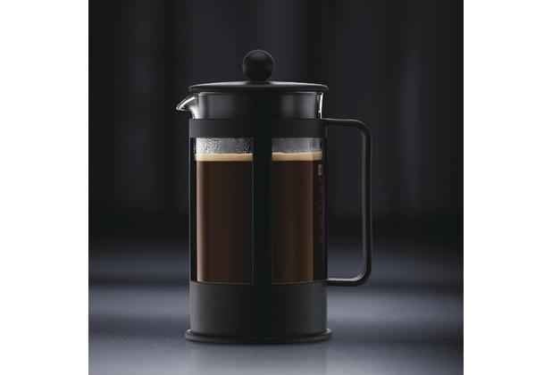 Bodum KENYA Kaffeebereiter 0,35 l 3 Tassen schwarz, eckiger Griff