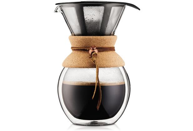 Bodum POUR OVER Doppelwandiger Kaffeebereiter mit Permanent Edelstahl Kaffeefilter, 8 Tassen, 1.0 l kork