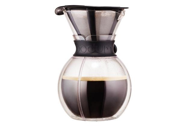 Bodum POUR OVER Doppelwandiger Kaffeebereiter mit Permanentfilter, kurze Tülle, 1.0 l schwarz