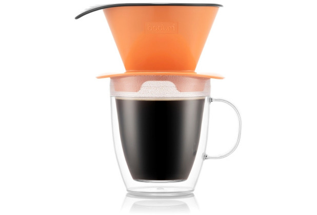 Bodum POUR OVER Kaffee-Tropfer und doppelwandige Tasse, 0,3 l, orange
