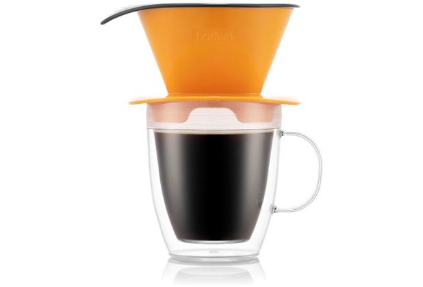 Bodum POUR OVER Kaffee-Tropfer und doppelwandige Tasse, 0,3 l, gelborange