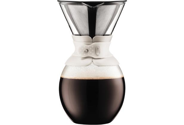 Bodum POUR OVER Kaffeebereiter mit permanentfilter, kurze Tülle, 1.5 l cremefarben