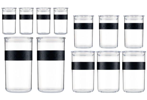 Bodum PRESSO 12er Set Vorratsgläser 4x 0.25 l, 3x 0.6 l, 3x 1.0 l, 2x 2.0 l mit Silikonband schwarz