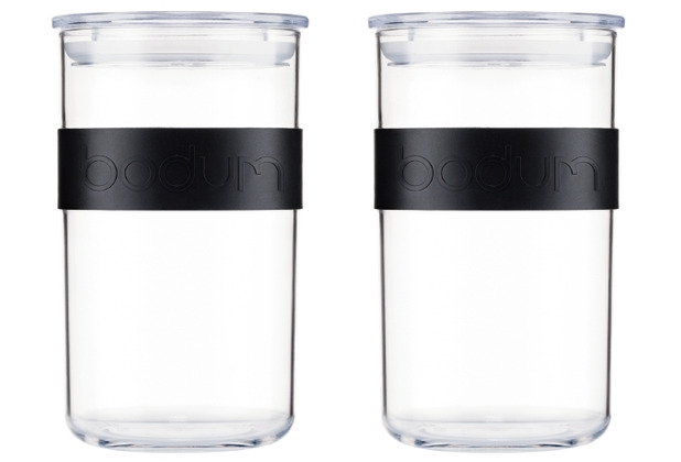 Bodum PRESSO 2er Set Vorratsgläser 1.0 l mit Silikonband schwarz