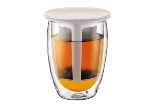Bodum TEA FOR ONE Teeglas mit Kunststofffilter 0,35 l cremefarben