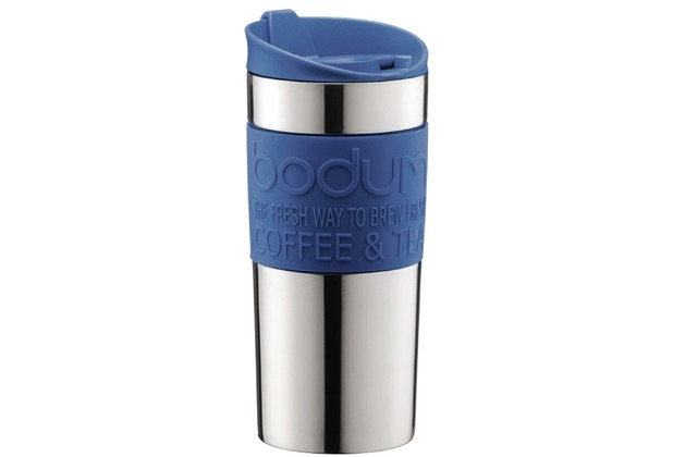 Bodum TRAVEL MUG Travel Mug, Doppelwandig, Edelstahl, 0.35 l blau