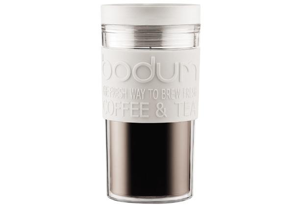 Bodum TRAVEL MUG Travel Mug, Kunststoff, 0.35 l cremefarben, flacher Deckel