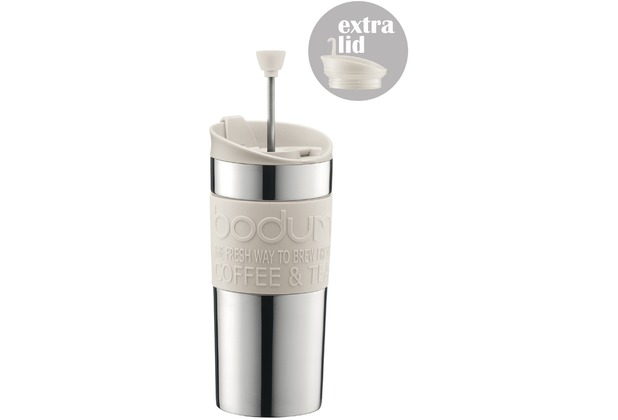 Bodum TRAVEL PRESS SET Kaffeebereiter mit extra Trinkaufsatz 0,35 l cremefarben Edelstahl