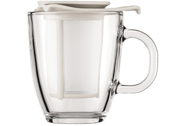 Bodum YO-YO SET Glastasse mit Kunststofffilter, 0.35 l Creme